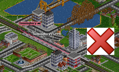 Building a train station in the middle of town is also blocking.